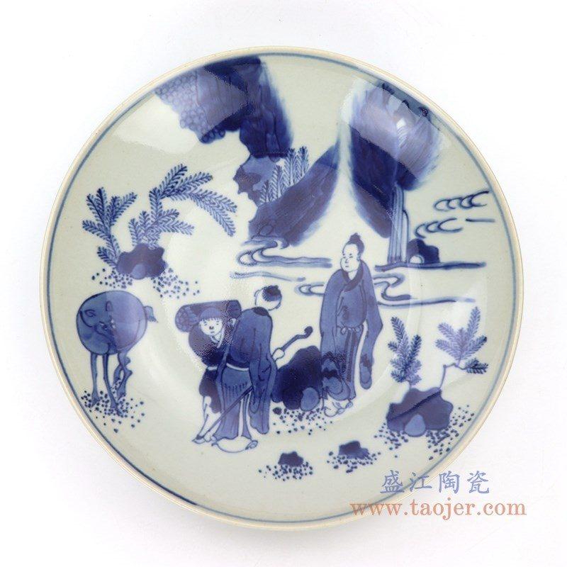 RZDC09-C 盛江陶瓷 仿古手绘青花人物风景图案瓷盘