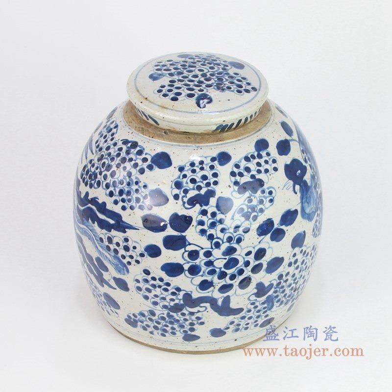 RZEY03-L-E 盛江陶瓷 高仿清代青花凤凰图纹带盖茶叶罐