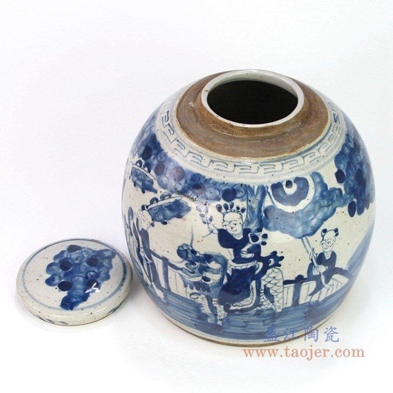 RZEY16-S-B 盛江陶瓷 仿古手绘青花麒麟送子茶叶罐