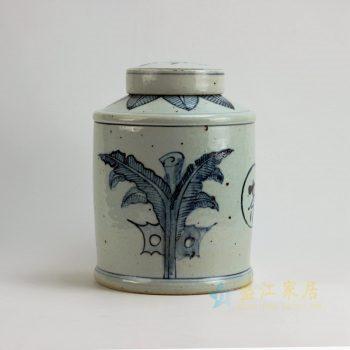 RZFB05 景德镇陶瓷 青花牵牛花纹茶叶罐