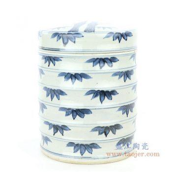 RZFB11 景德镇陶瓷 青花竹叶纹竹节罐带盖茶叶罐