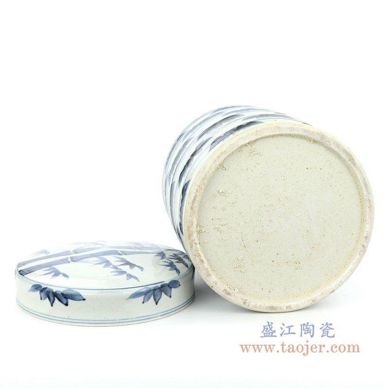 RZFB11 盛江陶瓷 青花竹叶纹竹节罐带盖茶叶罐