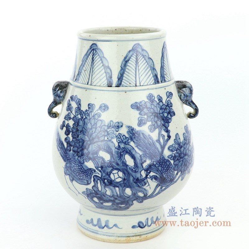 RZFB12 盛江陶瓷 手绘青花花鸟摆件