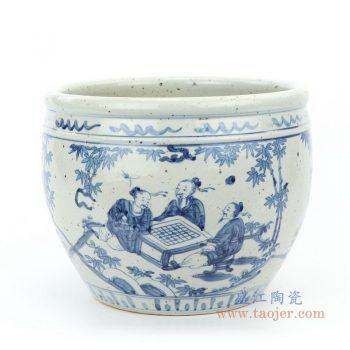 RZFB15 景德镇陶瓷 仿古青花人物图文缸