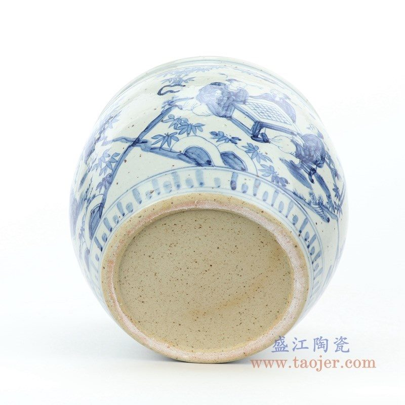 RZFB15 盛江陶瓷 仿古青花人物图文缸