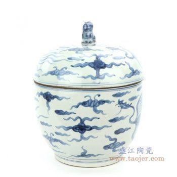 RZFB16 景德镇陶瓷 仿古做旧青花凤凰纹茶叶罐