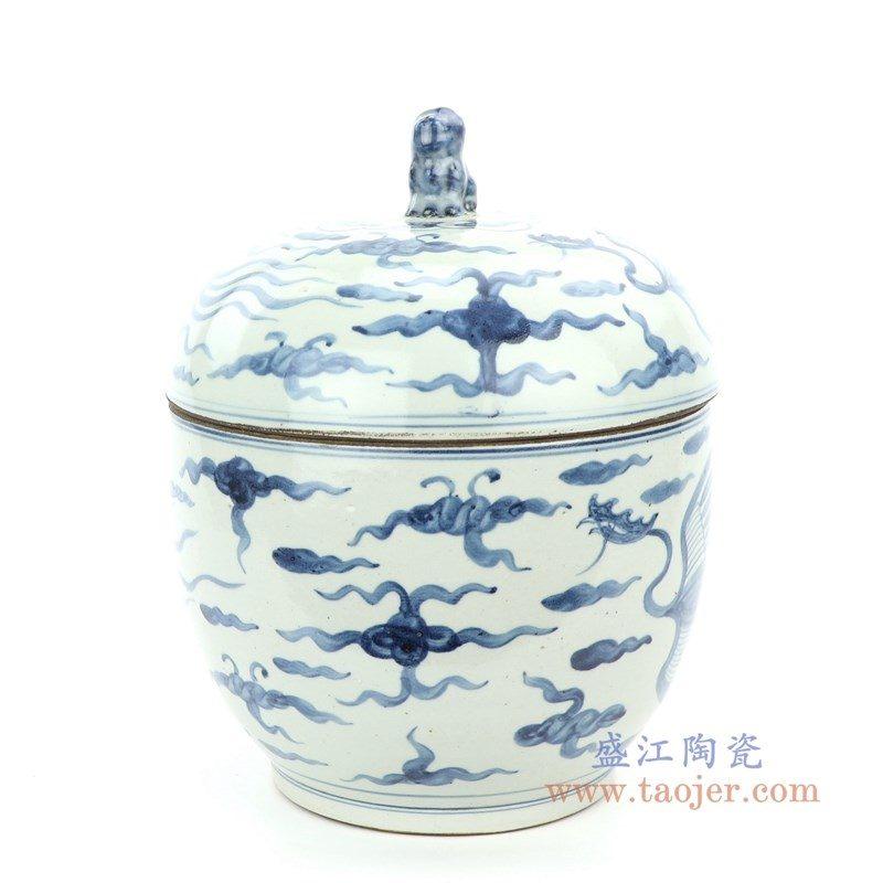 RZFB16 盛江陶瓷 仿古做旧青花凤凰纹茶叶罐