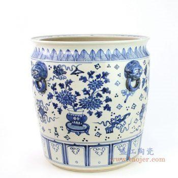 RZFH02-C 景德镇陶瓷 手绘青花花卉纹双耳金鱼缸