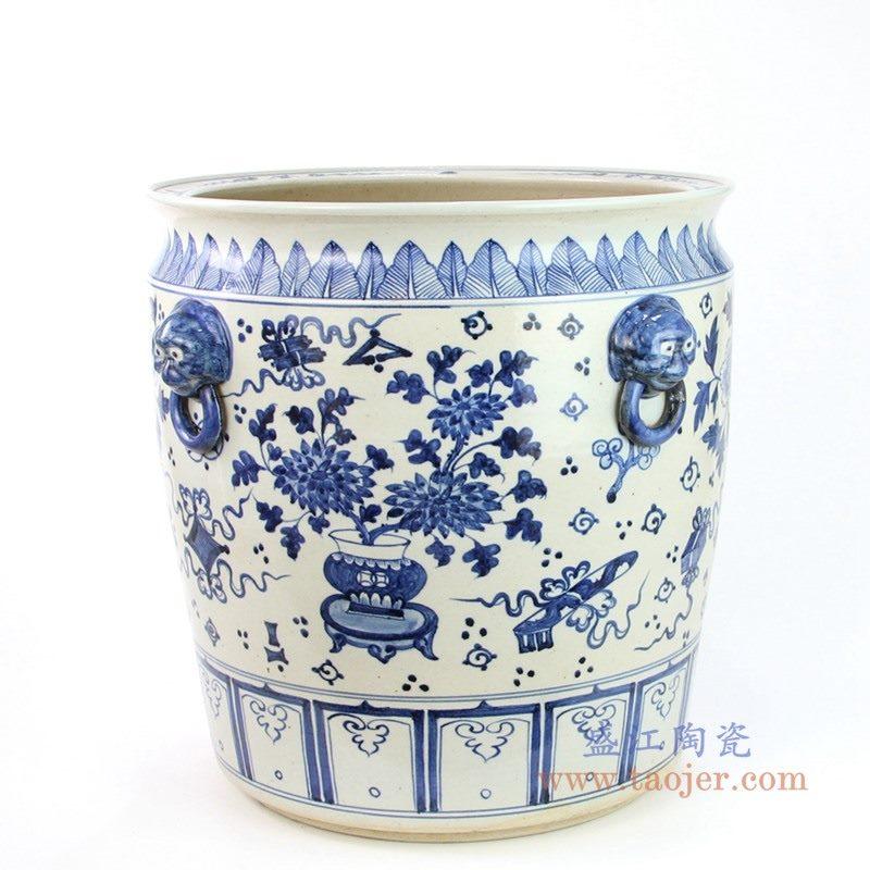 RZFH02-C 盛江陶瓷 手绘青花花卉纹双耳金鱼缸