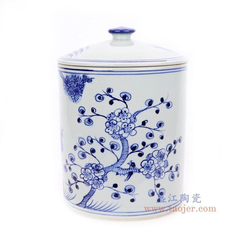 RZFI10-A 盛江陶瓷  青花竹子松树图纹茶叶罐
