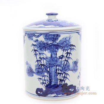 RZFI10-A 景德镇陶瓷 青花竹子松树图纹茶叶罐