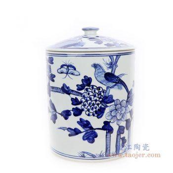 RZFI10-B 景德镇陶瓷 手绘青花花鸟纹茶叶罐