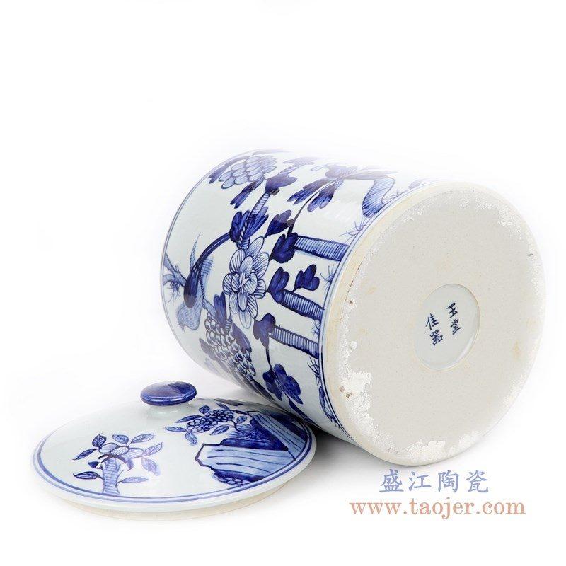 RZFI10-B 盛江陶瓷 手绘青花花鸟纹茶叶罐