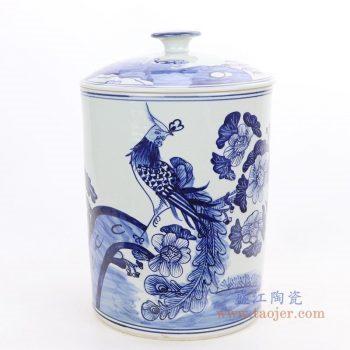 RZFI11 景德镇陶瓷 手绘青花凤凰图纹茶叶罐