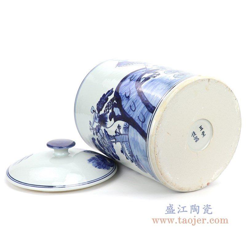 RZFI11 盛江陶瓷 手绘青花凤凰图纹茶叶罐