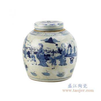 RZFZ01-L 景德镇陶瓷 青花手绘婴戏图纹茶叶罐