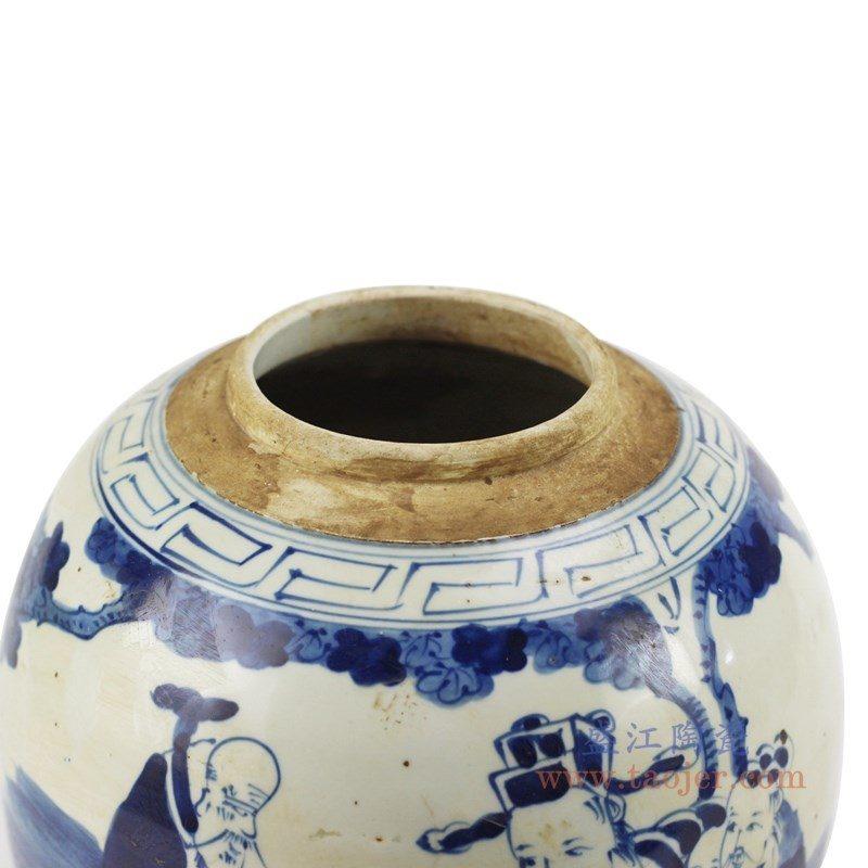 RZFZ01-k 盛江陶瓷 青花人物茶叶罐