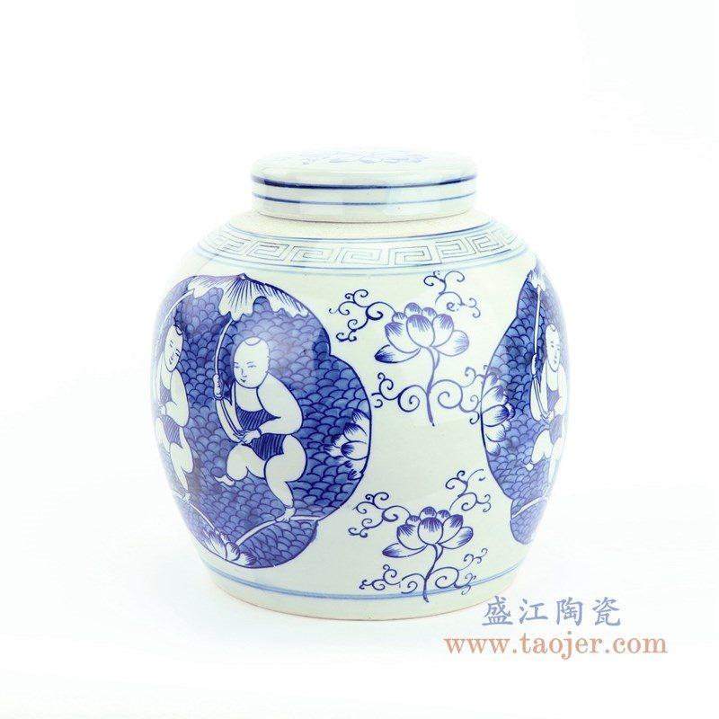 RZFZ05-K 盛江陶瓷 仿古做旧青花人物茶叶罐