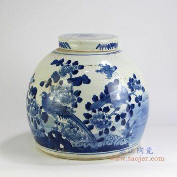 RZFZ05-M 景德镇陶瓷 仿古做旧青花花鸟茶叶罐
