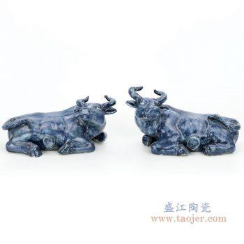 RZGA03 景德镇陶瓷 青釉雕塑水牛卧牛一对摆件