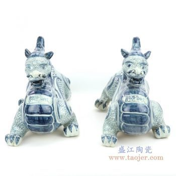 RZGA05 盛江陶瓷 青花青龙一对摆件