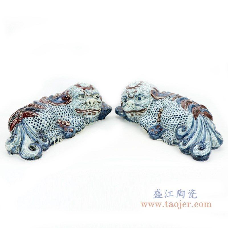 RZGA06 盛江陶瓷 青花貔貅一对摆件