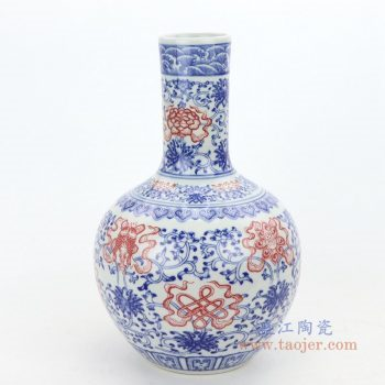 RZGM05 景德镇陶瓷 青花釉里红花瓶装饰