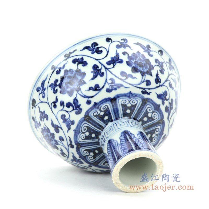 RZHL26-A 盛江陶瓷 大明宣德年制青花梵文缠枝八宝纹高脚碗