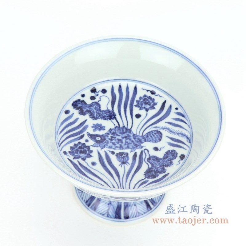 RZHL27-A 盛江陶瓷 青花四季缠枝高脚杯