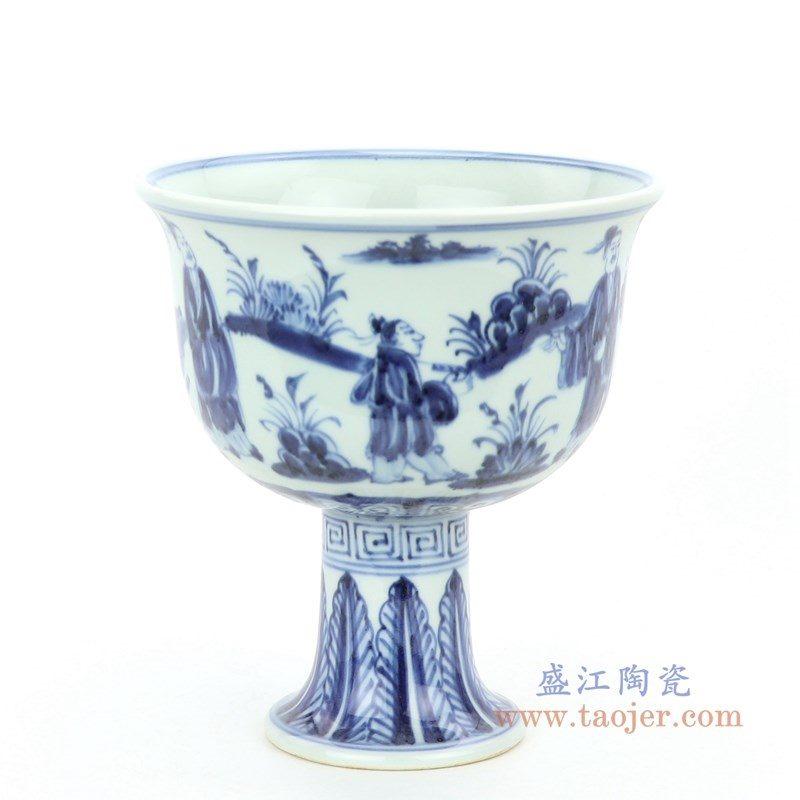 RZHL28-A 盛江陶瓷 大明嘉靖年制青花手绘人物纹高足碗
