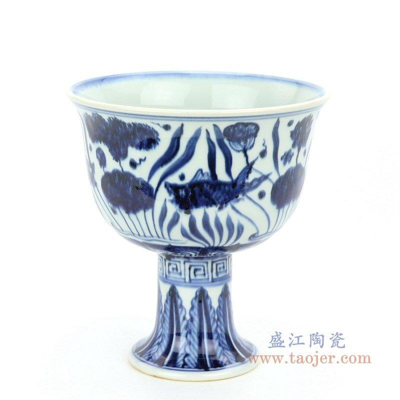 RZHL28-B 盛江陶瓷 大明宣德年制 青花鱼藻纹高脚碗