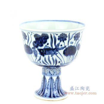 RZHL28-B 景德镇陶瓷 大明宣德年制 青花鱼藻纹高脚碗