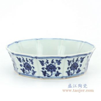 RZHL31-C 景德镇陶瓷 大明宣德青花凤凰葵口碗
