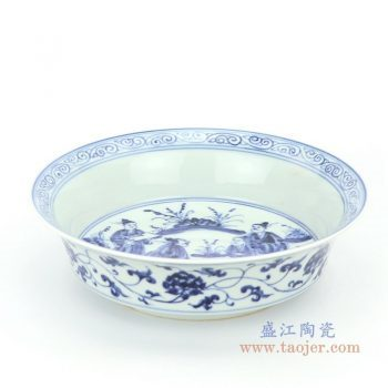 RZHL32-E 景德镇陶瓷 大明宣德年制青花手绘人物瓷盘