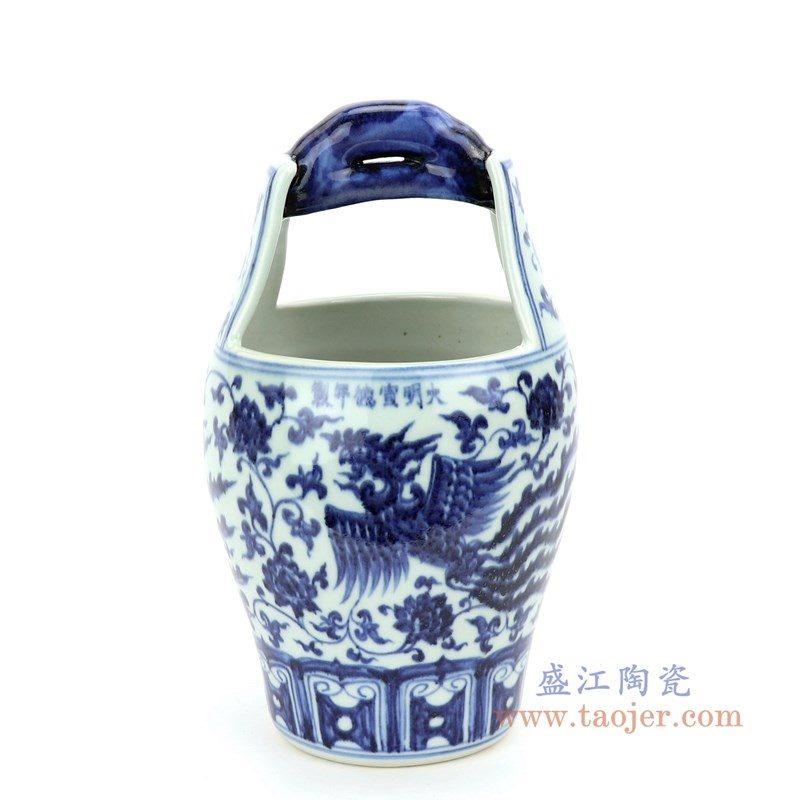 RZHL35 盛江陶瓷 青花缠枝莲凤凰图纹小木桶