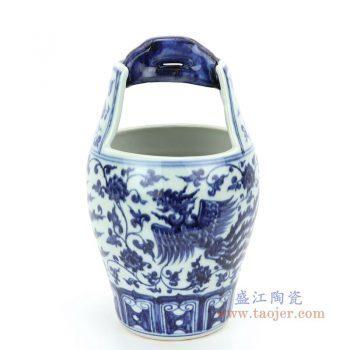 RZHL35 景德镇陶瓷 青花缠枝莲凤凰图纹小木桶