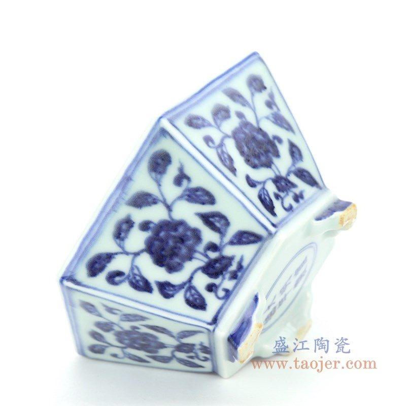 RZHL38 盛江陶瓷 青花缠枝莲六角花盆