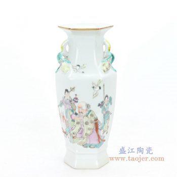 RZIH06-B 盛江陶瓷 高温颜色釉人物图纹赏瓶花瓶