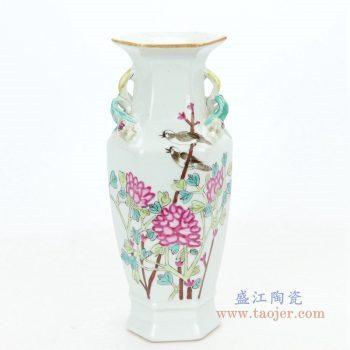 RZIH06-C 景德镇陶瓷 手绘花鸟纹一对赏瓶花瓶