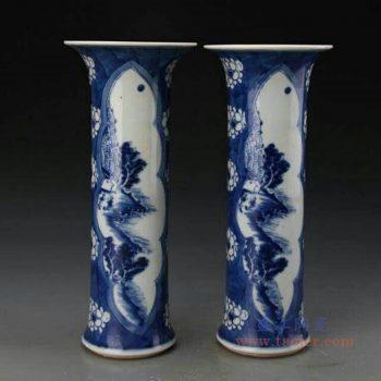 RZJI04-B 景德镇陶瓷 手绘青花柱体花卉纹陶瓷花觚