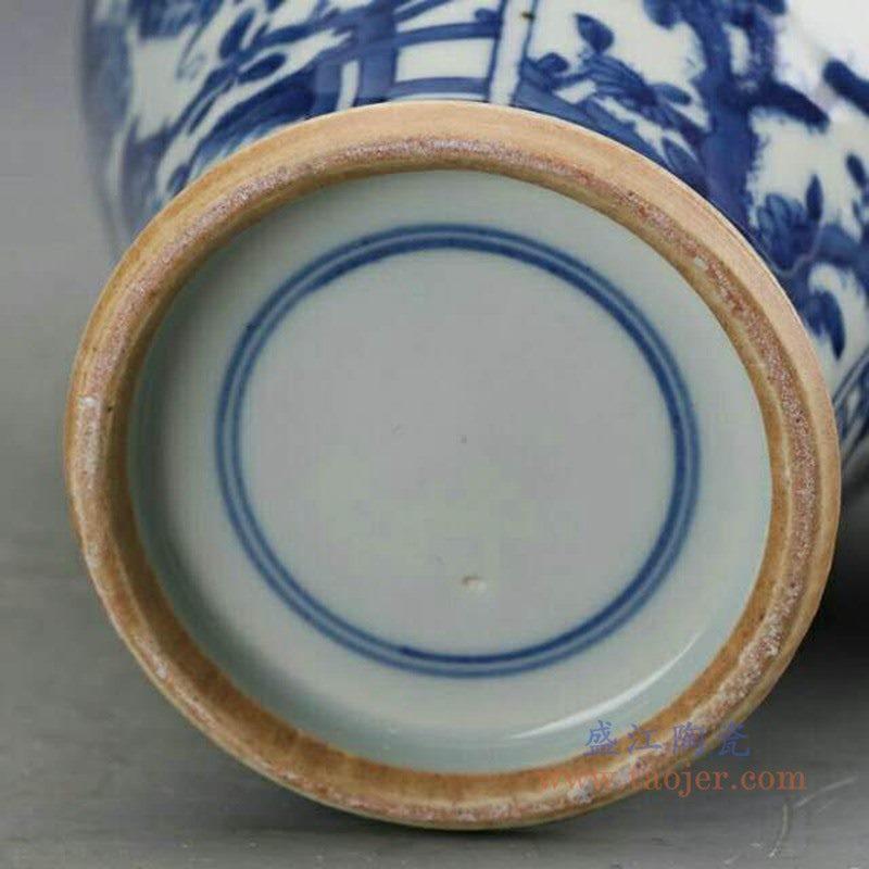 RZJI05 盛江陶瓷 陶瓷手绘青花树纹瓷罐带盖将军罐