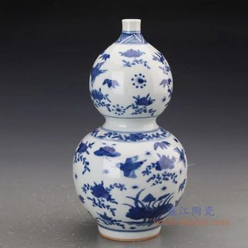 RZJI06 景德镇陶瓷 手绘青花花鸟纹葫芦赏瓶花瓶