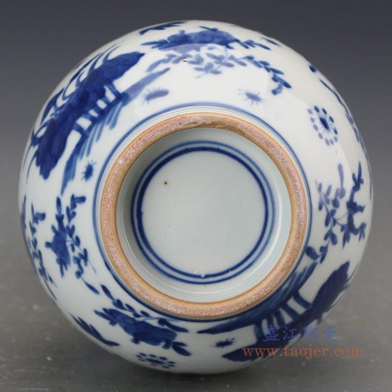 RZJI06 盛江陶瓷 手绘青花花鸟纹葫芦赏瓶花瓶