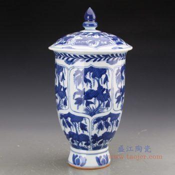 RZJI07 景德镇陶瓷 纯手工手绘青花树叶图纹陶瓷罐带盖储物罐