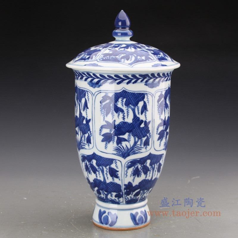 RZJI07 盛江陶瓷 纯手工手绘青花树叶图纹陶瓷罐带盖储物罐