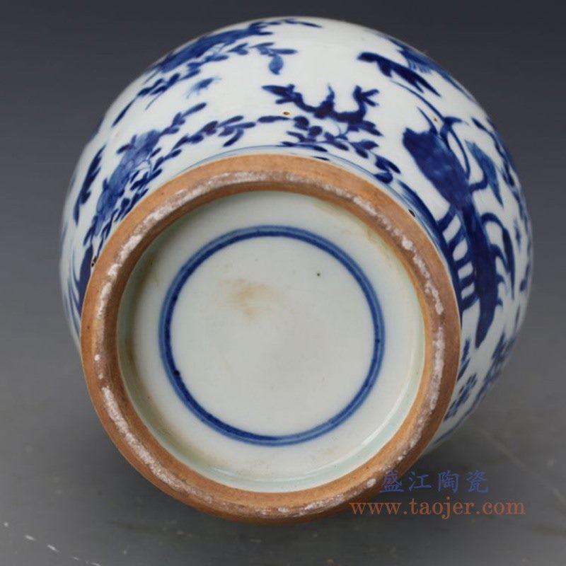 RZJI08 盛江陶瓷 手工陶瓷青花花鸟蝴蝶家居赏瓶花瓶