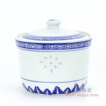 RZKG12-B 景德镇陶瓷 青花玲珑陶瓷炖盅