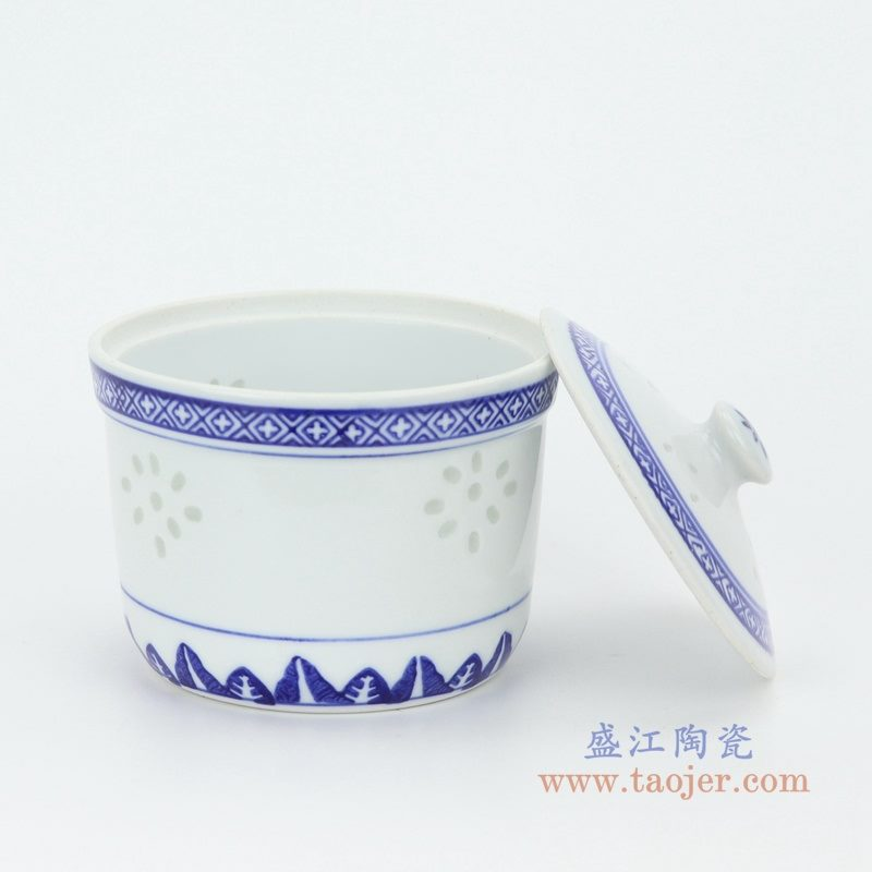 RZKG12-B 盛江陶瓷 青花玲珑陶瓷炖盅