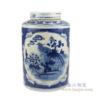 RZKT02-C 景德镇陶瓷 仿古手绘青花花鸟茶叶罐