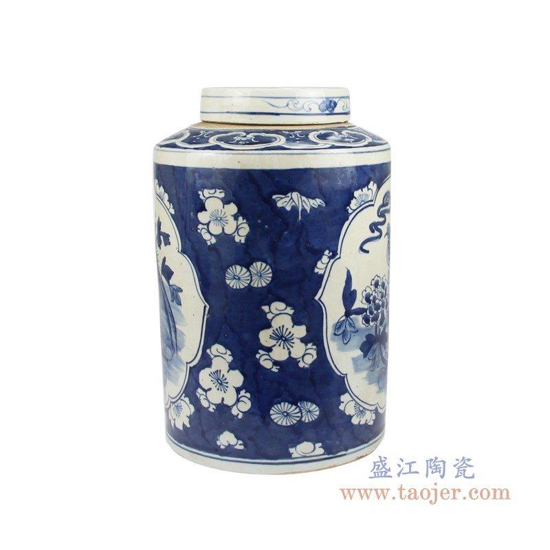 RZKT02-C 盛江陶瓷 仿古手绘青花花鸟茶叶罐